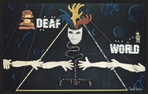 Original De'VIA mural (1989) Made by 9 Deaf artists during the De'VIA thinktank in the Washburn building of Gallaudet University - Mural was being exhibited and then mysteriously went missing and has never been found since